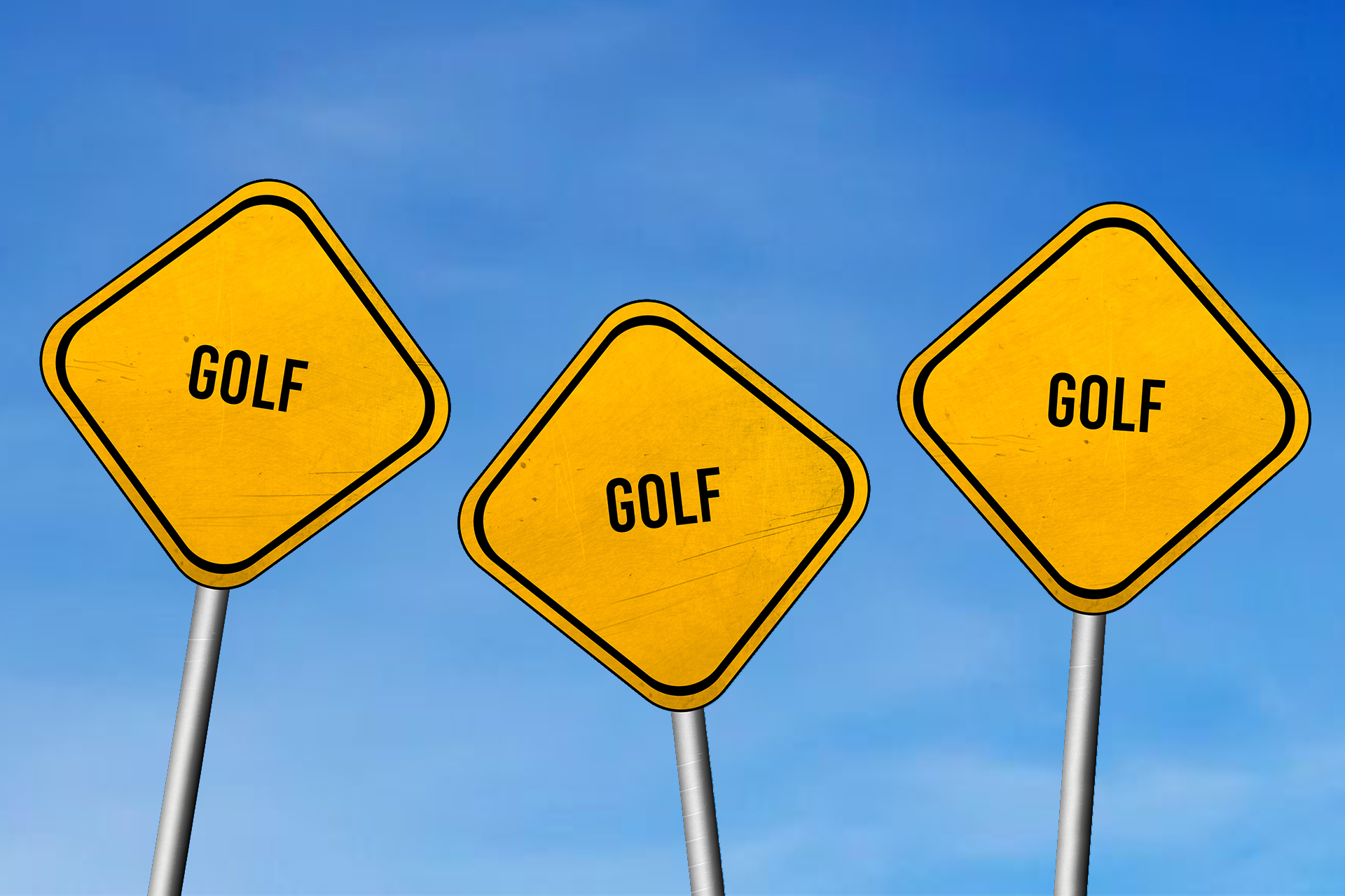 Golf – yellow sign with blue sky